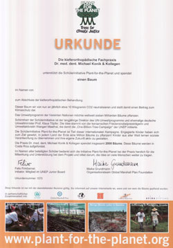 Urkunde Schülerinitiative Plant-for-the-Planet